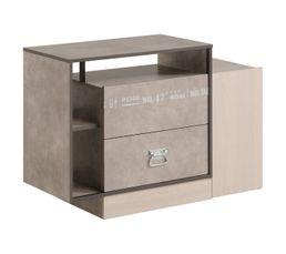 Commode 2 tiroirs HIPSTER 2318COPT imitation frêne/béton