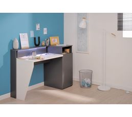 bureau led connect technologik gris et blanc bureaux but. Black Bedroom Furniture Sets. Home Design Ideas
