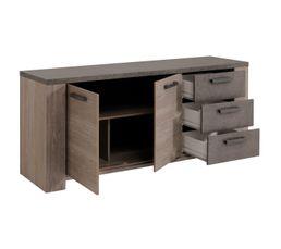 Buffet 2 portes/3 tiroirs GOSSIP 0150E3PT/ Chêne foncé