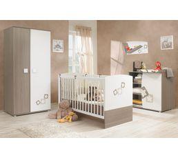 Armoires - Armoire 2 portes chambre bébé NOE frêne gris et blanc