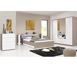 Lit 160x200 cm FARO 1 H84 106 imitation frêne gris