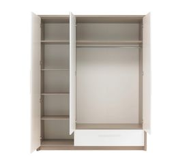 Armoire 3 portes 1 tiroir FARO 1 H84 140 imitation fr�ne gris