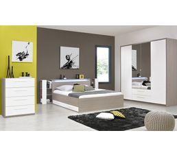Armoire 4 portes 2 tiroirs FARO 1 H84 190 imitation frêne gris