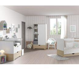 Armoire bébé 1 porte 1 tiroir Chants réversibles gris & rose ELIN