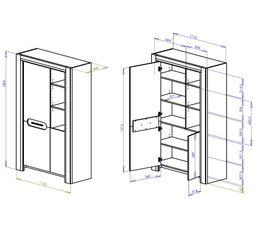 Buffet haut 2 portes/1 niche SANDRO Chêne/marbre gris