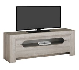 Meuble TV 2 tiroirs SANDRO Chêne/marbre gris