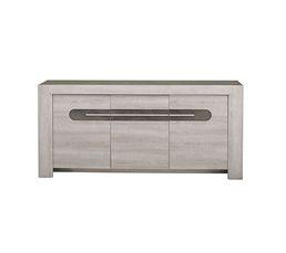SANDRO Buffet 3 portes Chêne/marbre gris