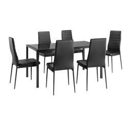 Ensemble table+ 6 chaises ANA Noir