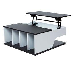 Table basse plateau relevable DINA Noir et blanc