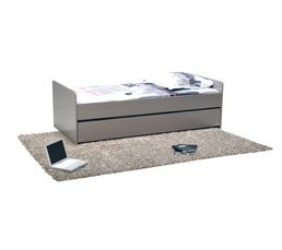 Lit gigogne 90x190 cm florent taupe lits but - Lit gigogne escamotable ...