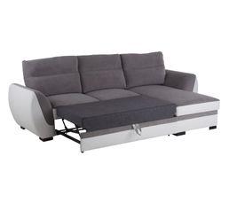 Canapé réversible convertible ELLIE Tissu gris et blanc