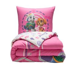 housse de couette 140x200 1 paw patrol rose linge de lit but. Black Bedroom Furniture Sets. Home Design Ideas