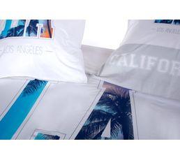 Housse de couette 240x220 + 2 LOS ANGELES blanc/bleu