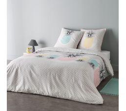 housse de couette 240x220cm 2 taies d 39 oreiller ananas. Black Bedroom Furniture Sets. Home Design Ideas
