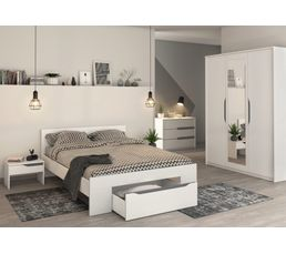 lit 140x190 cm tiroir april blanc et gris lits but. Black Bedroom Furniture Sets. Home Design Ideas