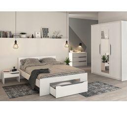 Lit 160x200 cm + tiroir APRIL Blanc et gris