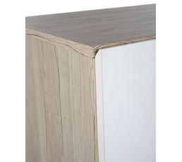 Commode 2 portes 3 tiroirs MOON imitation chêne clair et blanc