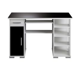 bureau droit matrix 4 noir blanc bureaux but. Black Bedroom Furniture Sets. Home Design Ideas
