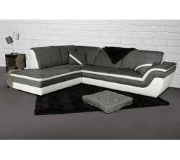 Canap�s - Canapé d'angle gauche fixe QUINN Gris et Blanc