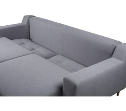 Canapé convertible 4 places OSTENDE Tissu Gris clair