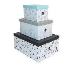 Boites De Rangement - Set 3 boites ICE Blanc/Gris/Noir