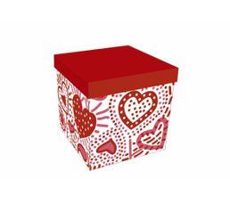 Set de 2 boîtes carrées COEUR Rouges