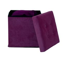 Lot de deux poufs coffre HOMY tissu aubergine