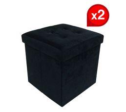 Lot de deux poufs coffre HOMY tissu noir