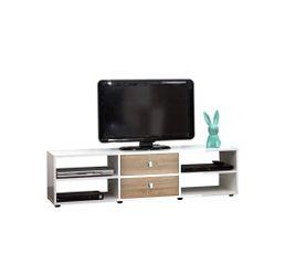Meuble TV ROMY Blanc et ch�ne