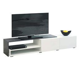 Meubles Meuble TV SPRING Blanc et béton - LeBriconome.fr