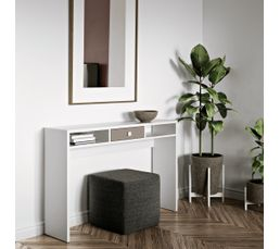 Console 1 tiroir AURORE Blanc et taupe