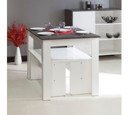 Table + 2 Bancs MARIA Blanc et gris béton