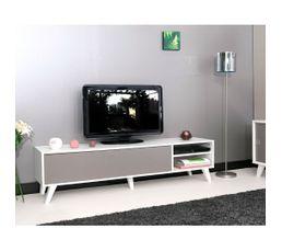 Meuble TV Scandinave COSMOS Blanc et taupe