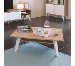 Table basse Scandinave COSMOS Chêne et blanc