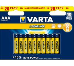 VARTA Piles alcalines LR03 LONGLIFE x 20