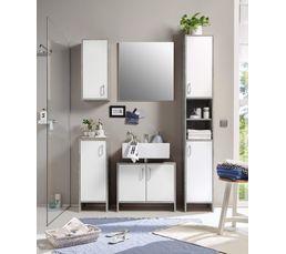 Meubles de salle de bain 5 meubles  blanc et gris béton MADERE