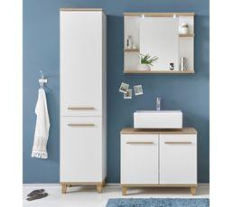 Meuble de salle de bain 80 cm + Colonne + Miroir Scandinave PALAOS