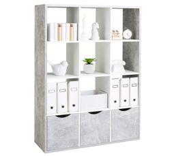 QUADRO Étagère L.110 cm 12 cases blanc béton