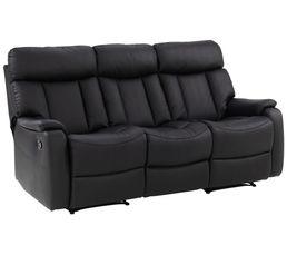 canap 3 places 2 relax conrad polyur thane noir pas cher avis et prix en promo. Black Bedroom Furniture Sets. Home Design Ideas
