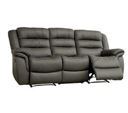 Canapé Circus de trois places dont deux relax, en cuir gris.