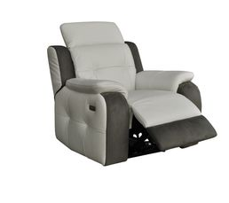Fauteuil relax lectrique caravelle cuir cro te cuir blc micr gris fauteuil - Fauteuil relax cuir electrique ...
