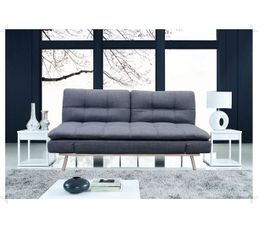banquette lit cosy tissu gris avec matelas de mousse magasins but. Black Bedroom Furniture Sets. Home Design Ideas