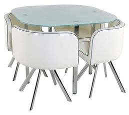 Table + 4 chaises MELO Blanc
