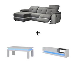 Canap� d'angle gauche relax ZEN + Table basse et meuble TV COLORS