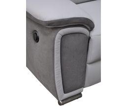 Canapé 2 places relax électr. WOW Cuir/micro.Gris clair