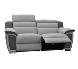 Canapé 2 places 2 relax électrique WOW Cuir/micro.Gris clair
