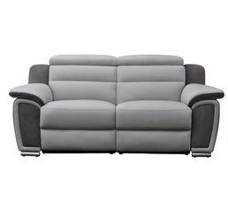 Canapé 3 places relax électr. WOW Cuir/micro.Gris clair