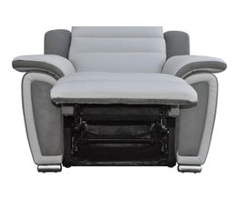 Fauteuil relax WOW Cuir/micro.Gris clair