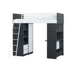 WORKSTATION Lit mezzanine noir et blanc
