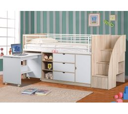 Lits - Lit compact bureau CABIN blanc chêne